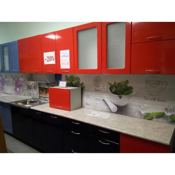 Кухня МДФ глянец 3,5 метра с учетом плиты 50см